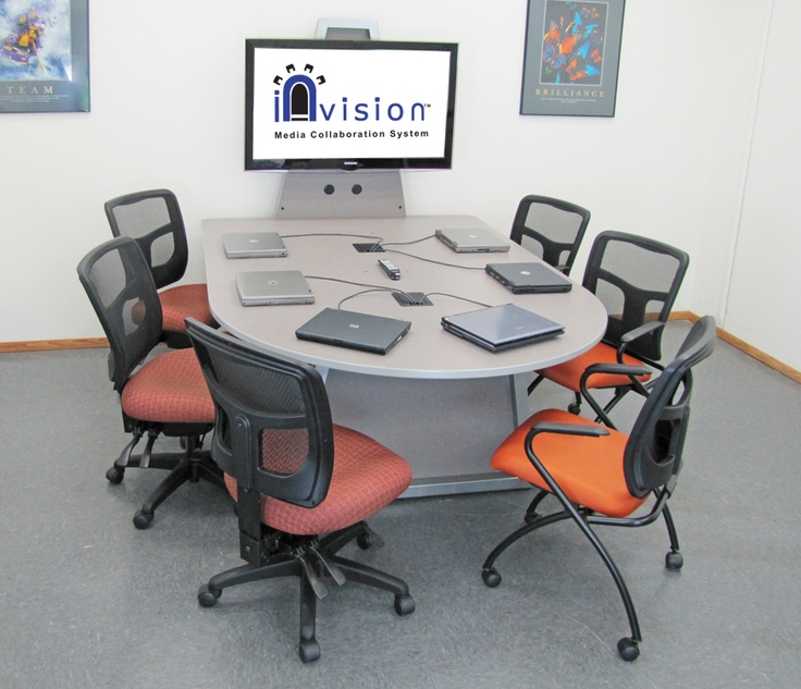 Invision Media Collaboration System Table With Monitor Stand For Up To 6 Users