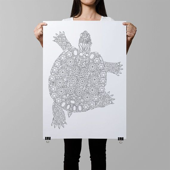 diamonds turtle coloring poster / giant coloring page / turtle coloring wall art / diy home decor / turtle illustration crystals / gemstones by AnnaGrundulsDesign