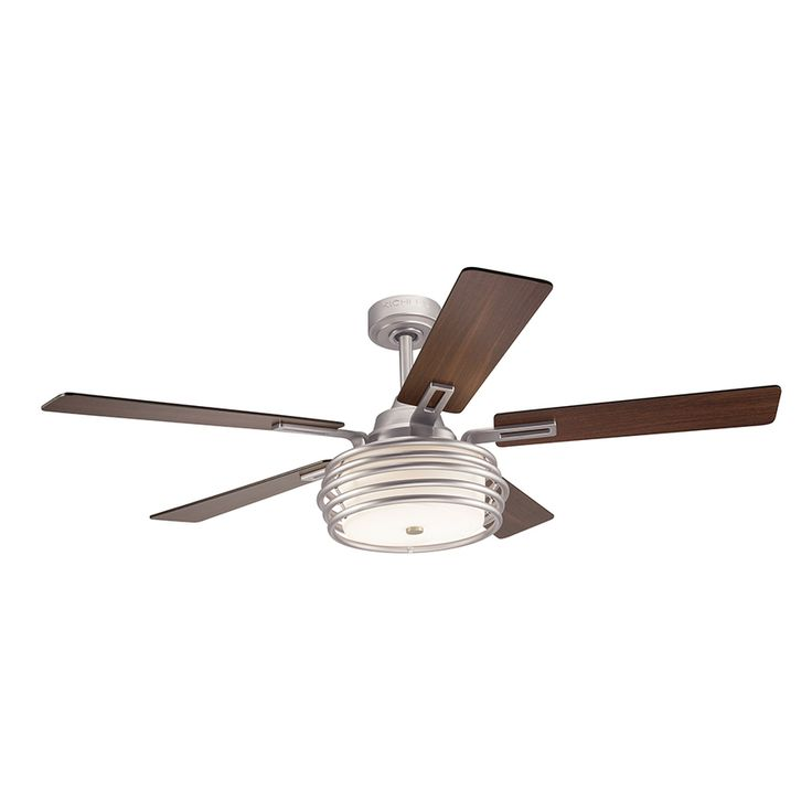 kichler bands 52in brushed nickel downrod mount indoor ceiling fan with light kit and - Cool Ceiling Fans