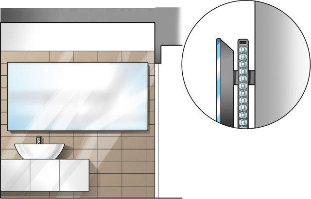 """PARETE CON LAVABO La zona lavabo è arredata con un mobile sospeso profondo circa 40 cm, sul quale poggia un lavabo in ceramica che sporge leggermente. Anche i sanitari, installati sulla parete di fronte, sono modelli sospesi che """"alleggeriscono"""" l'ambiente. Lo specchio a tutta parete è distanziato di alcuni centimetri dal muro grazie a un supporto in legno, così da lasciare lungo tutto il perimetro lo spazioper una scanalaturanella quale sonoinseriti apparecchia led che diffondonola luce…"""