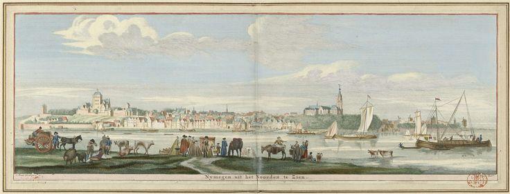 Jan Ruyter | Gezicht op Nijmegen vanuit het oosten, Jan Ruyter, Cornelis Pronk, 1726 - 1744 | Gezicht over de rivier de Waal op de stad Nijmegen, met het Valkhof en op de achtergrond de Sint-Stevenskerk. Op de voorgrond diverse zeilschepen.