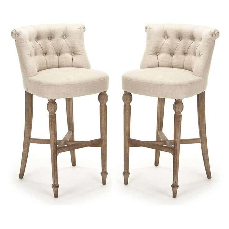 Tufted Amelie Bar Stools - Old Provence  Dimensions: H:22 X W:22 X D:41