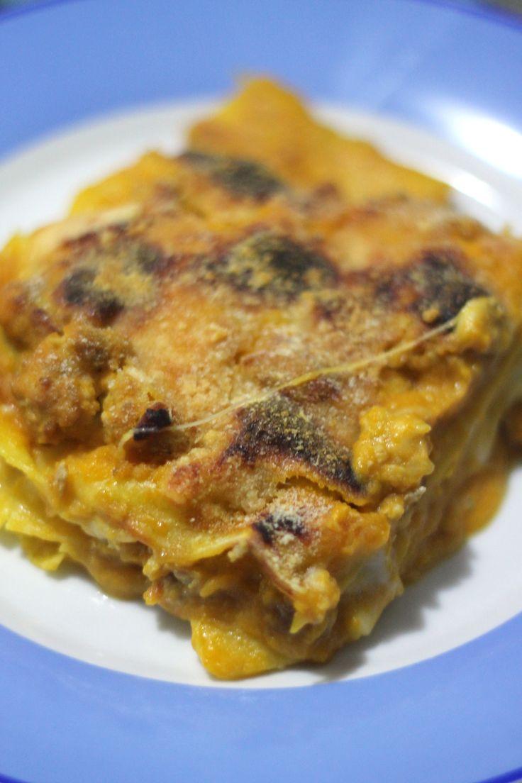Lasagne al forno con crema di zucca e polpettine