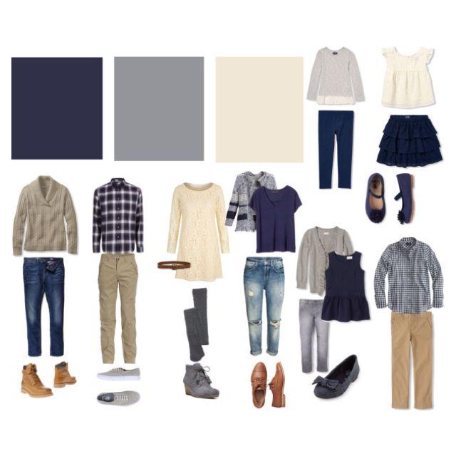 Navy, Gray, Cream family photo shoot color scheme
