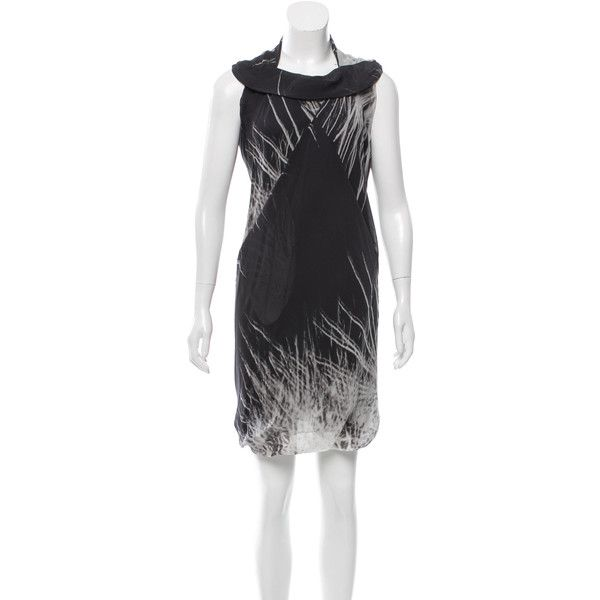 Pre-owned Rick Owens Silk Printed Dress ($165) ❤ liked on Polyvore featuring dresses, black, drape dress, silk cocktail dress, sleeveless cocktail dress, multi print dress and multi color dress