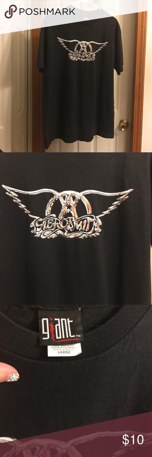 Vintage Aerosmith T-Shirt Vintage '90's Aerosmith t-shirt. Aerosmith wings on front. Graphics on front only. Men's Large. Giant Shirts Tees - Short Sleeve