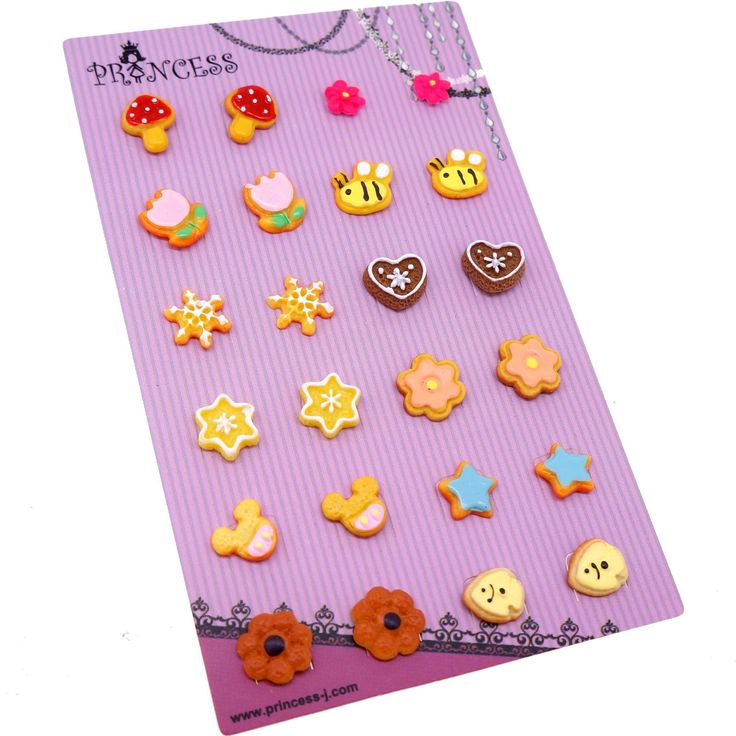 Wholesale Lot of 12 Pairs Cute Stud Studed Earrings for Kids, Teen Girls