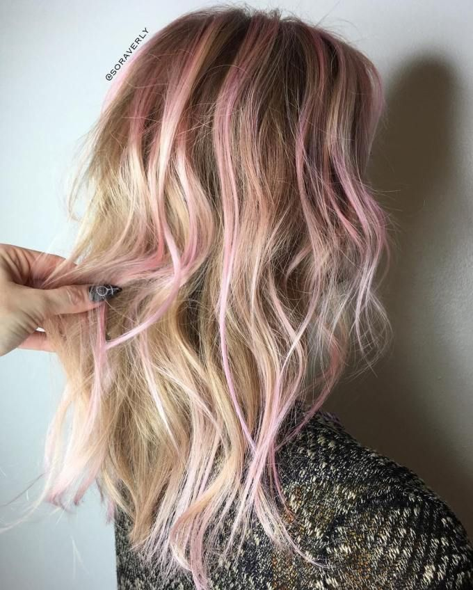 40 Ideas Of Pink Highlights For Major Inspiration Blonde Hair With Pink Highlights Pink Hair Highlights Pink Blonde Hair