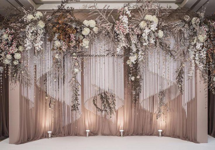 "271 Likes, 1 Comments - PHKA (@phka_studio) on Instagram: ""Flow of curtains and movement of crystal ribbons . . #birddyandben #weddingreception #backdrop"""