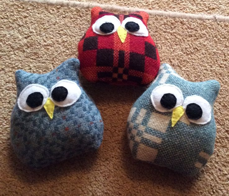 Lavender owls made with Melin Tregwynt Wool.