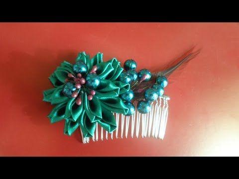 Канзаши . Дамский Гребешок для волос / DIY Kanzashi Ladies Hair Comb - YouTube