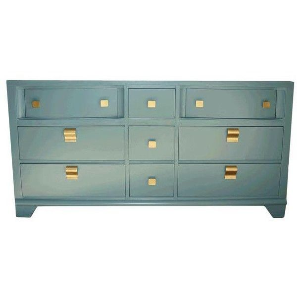 Mid-Century Blue Dresser ❤ liked on Polyvore featuring home, furniture, storage & shelves, dressers, midcentury modern dresser, drawer furniture, mid century style furniture, painted furniture and blue painted dresser