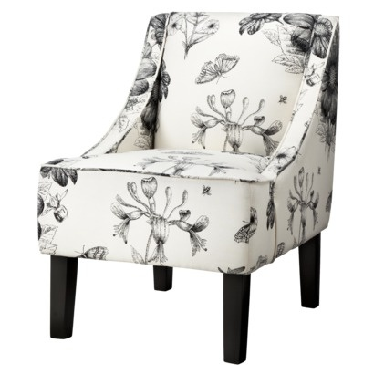 160 swoop upholstered slipper chairblack u0026 white floral