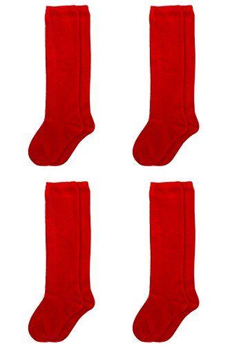 Basico Girls Kid's 12 Pack or 4 Pack School Uniform Knee High Socks (M 4-6 Red - 4 Pack)