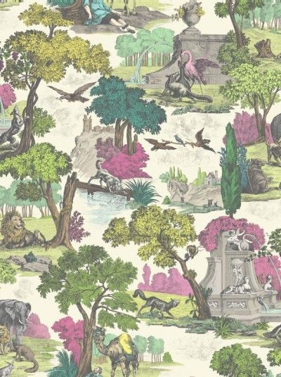 Versailles Grand (99/16064) - Cole & Son Wallpapers - A traditional Toile de Jouy styled wallpaper, featuring various animals and birds surrounded by elegant trees and foilles. Shown here in pink and yellow/green chartreuse. Other colourway available. Please note that this design is sold as a 2 roll pack, which must be hung together to create a 137cm wide pattern repeat. Unfortunately, samples are unavailable. Paste the wall.