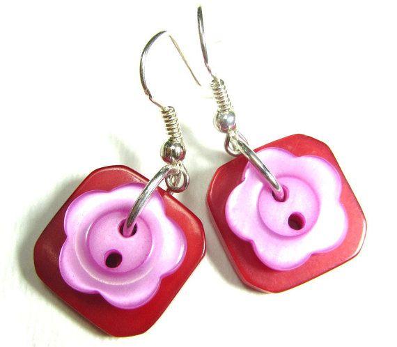 Button Girl Earrings Cute Flower Styles by flirtyfashionjewelry, $15.00