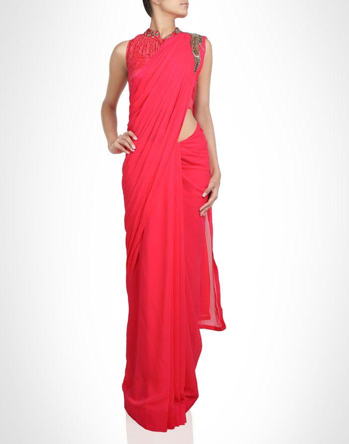 Ready drape sari with bead work. Shop Now: www.kimaya.in.