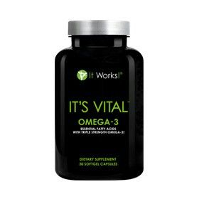 Boost heart health, keep those joints moving, and reclaim that youthful glow with the triple strength blend of DHA and EPA fatty acids of It's Vital Omega-3.† Along with superior strength, fish oil-derived fatty acids, It's Vital Omega-3† also adds a purifying rosemary-based antioxidant blend to fight the effects of free radicals—all in an easy-to-swallow softgel with a hint of lemon flavor.†