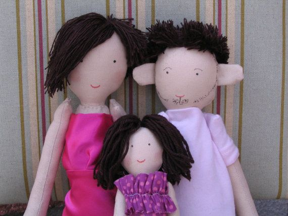 Family doll with dog family rag doll custom by apacukababa on Etsy