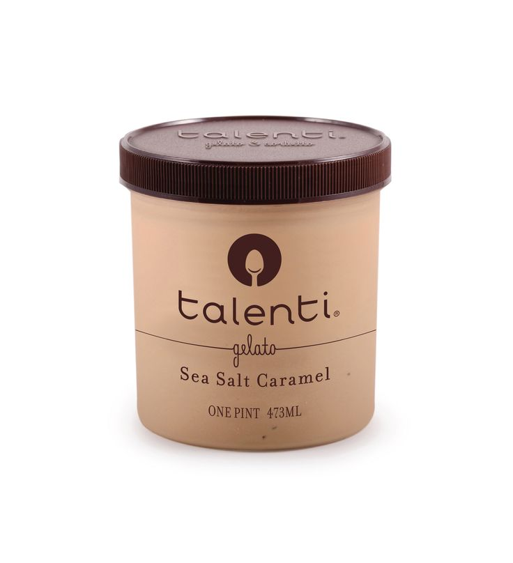 Talenti Sea Salt Caramel gelato. Sea Salt Caramel: it's so trendy! But our rich, golden Argentine caramel base that's filled with chocolatey sea salt caramels tastes like it's been in your family for generations. Thank you, fictional grandmother.