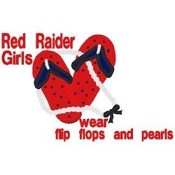 Flip Flops Red Raider Applique - 3 Sizes! | Words and Phrases | Machine Embroidery Designs | SWAKembroidery.com Band to Bow