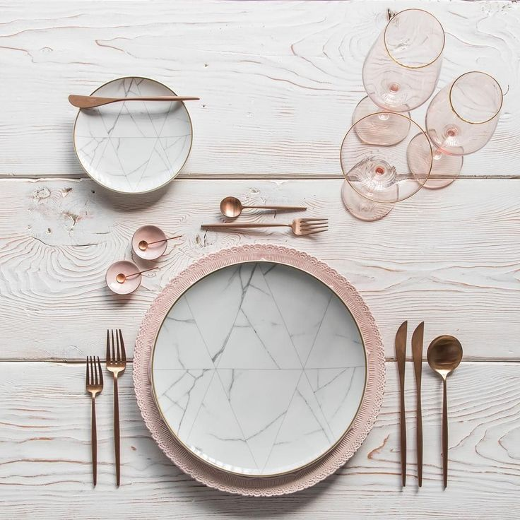 Loving all the ways to pair our new Carrara Dinnerware  Shown here with our Lace Chargers in Blush + Moon Flatware in Brushed Rose Gold + Bella 24k Gold Rimmed Stemware in Blush + Pink Enamel Salt Cellars + Tiny Copper Spoons #cdpdesignpresentation #