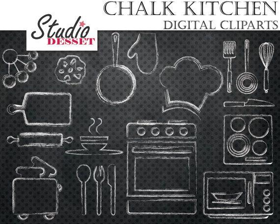Chalk Cliparts Kitchen, Chalkboard Oven Digital Clip Art, Chalk Utensils, Microwave Illustrations, White Overlays C234