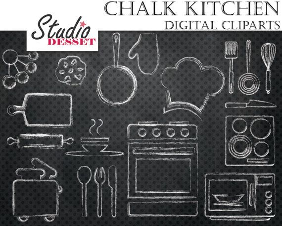 Chalk Cliparts Kitchen, Chalkboard Oven Digital Clip Art, Chalk Utensils, Microwave Illustrations, White Overlays C234