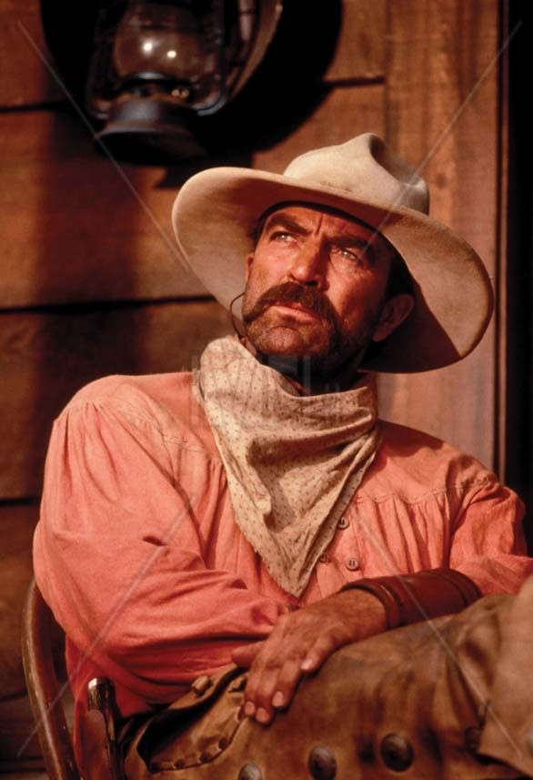 """LAST STAND AT SABRE RIVER (2001) - Tom Selleck as embittered Confederate soldier """"Paul Cable"""" who returns to his family in Arizona - Also featuring:  Suzy Amis - Haley Joel Osment - Rachel Duncan - Tracey Needham - Keith Carradine - David Carradine - Harry Carey Jr. - Based on novel by Elmore Leonard - Directed by Dick Lowry - Filmed in New Mexico - TV Movie for Turner Network Television - Publicity Still."""