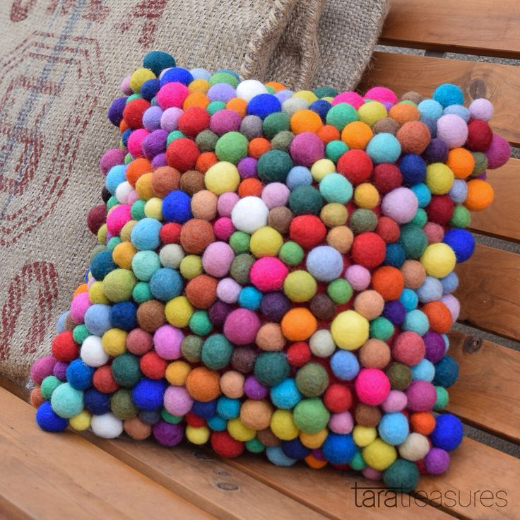Isn't this cushion cover delicious? Felt balls individually hand sewn. #cushioncover