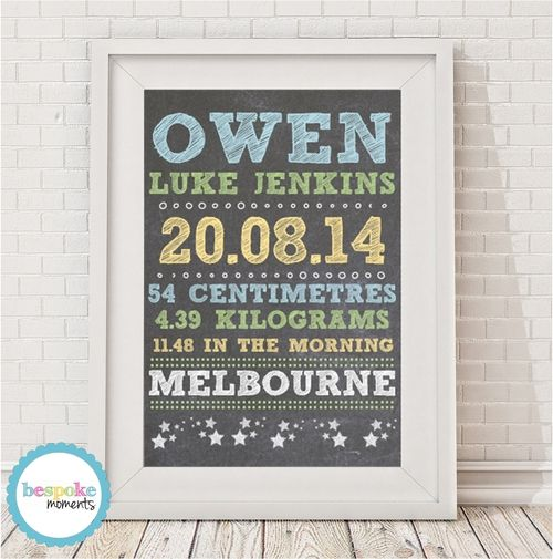 Boys' Chalk Birth Print by Bespoke Moments. Worldwide Shipping Available.
