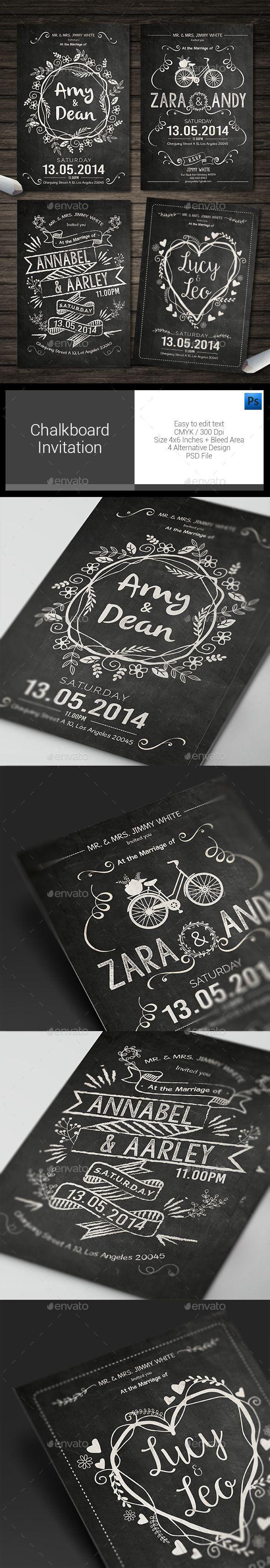 Chalkboard Invitation Template #design Download: http://graphicriver.net/item/chalkboard-invitation/12503465?ref=ksioks