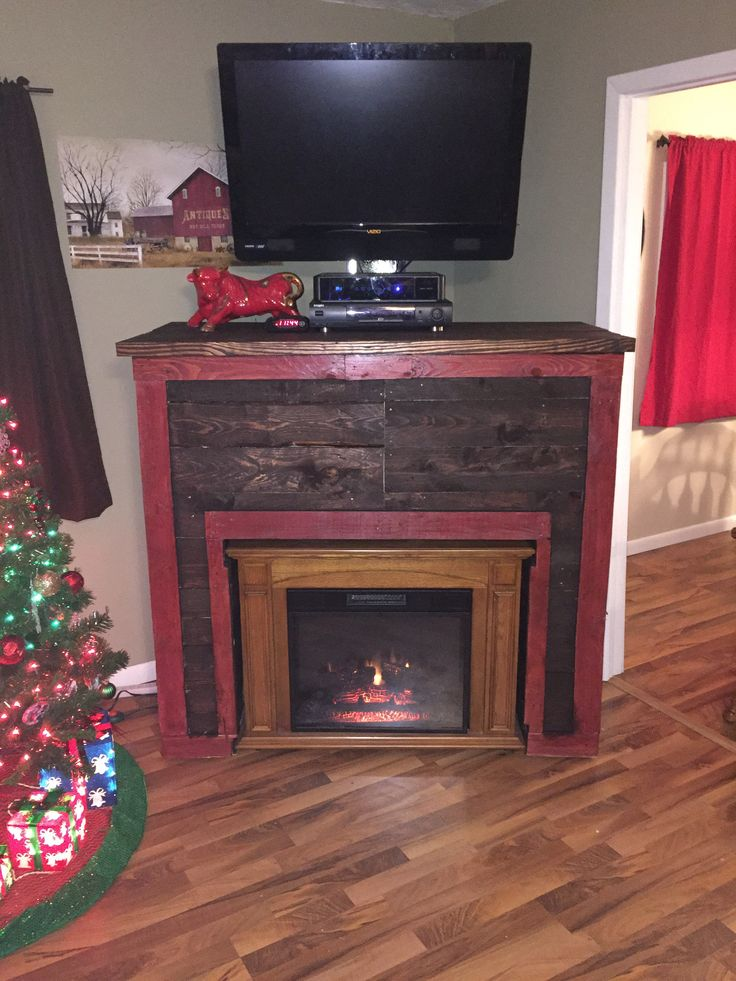 Entertainment Tv Stand Faux Fireplace From Recycled Pallets Pallet Ideas Mantles Tvs And
