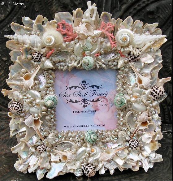 Large GLORY-OF-THE-SEA Fine Shell Art Photo Frame ELEGANT, ROMANTIC, COASTAL…