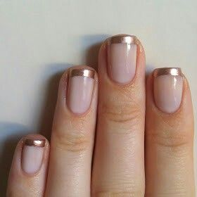 Rose gold nails nail tips Essie adore a ball and Essie penny talk  http:// nailsalwayspolished.blogspot.com/2014/04/rose-gold-french-manicure.html?m=1