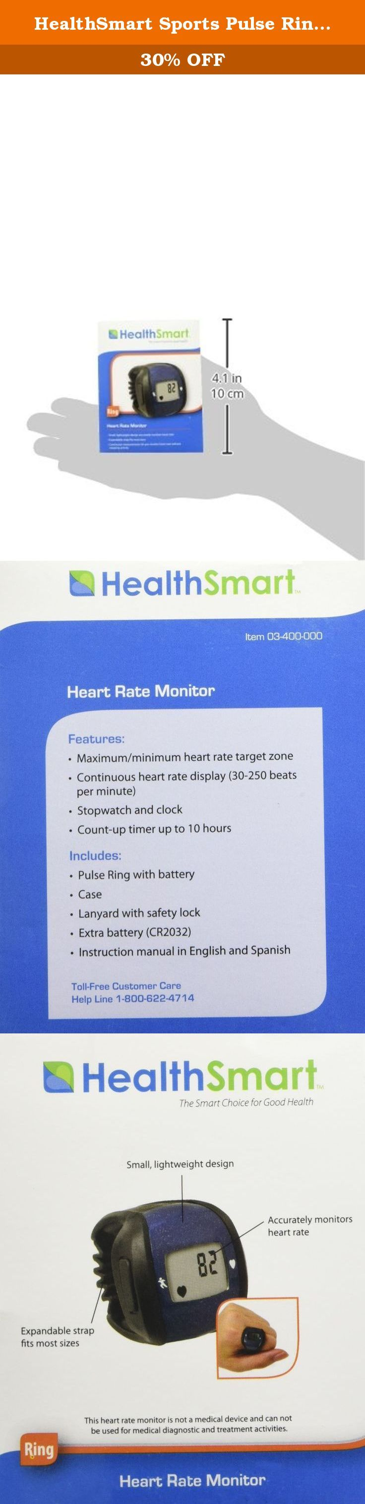 HealthSmart Sports Pulse Ring Heart Rate Monitor, Blue. Monitor Your Heart Rate During Sports or Exercise This small, lightweight ring makes it easy to monitor your heart rate while on the go, at the gym or taking your morning run. Just slip it on your finger to get a continuous heart rate display without stopping your activity. It also has a stopwatch, clock and count-up timer. The monitor comes with a lanyard with safety lock, an extra battery and instructions in English and Spanish....
