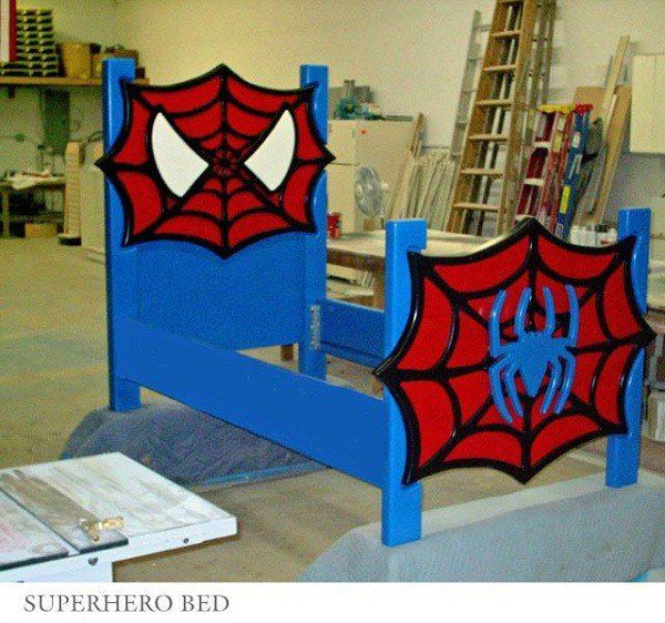 Superhero Bedframe - If you want to go for more, choose your son's favorite superhero and have a bed customized in whichever superhero design is available. In the picture is a bed based on Spiderman. I have seen other beds based on other superheroes like Batman and his bat mobile, Superman and even The Avengers.