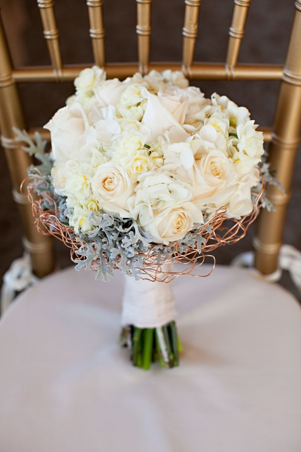 Copper colored wire collar with accents of dusty miller with roses/ volusiacountyweddings/ www.callaraesfloralevents.com