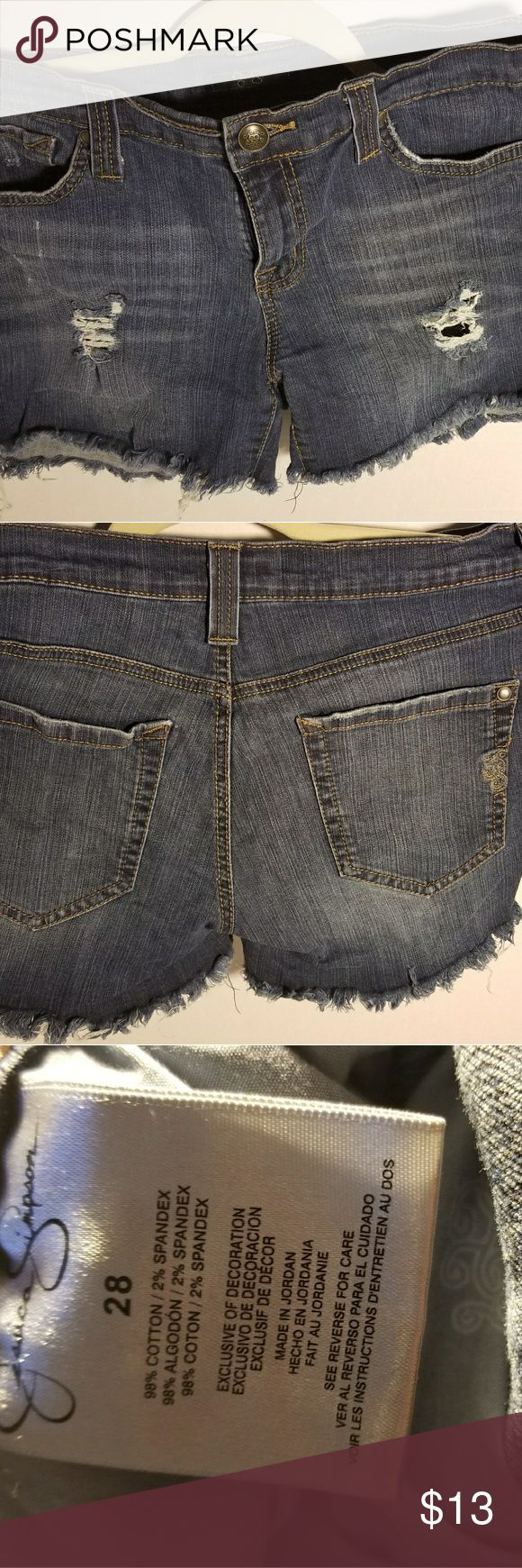 Jessica Simpson Cut Off Distressed Shorts 28 Great like new condition, factory cutoff not homemade.  Size 28. Jessica Simpson Shorts Jean Shorts