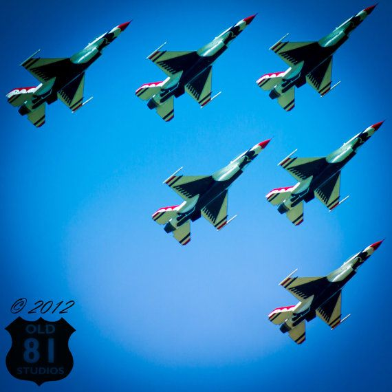 Art Print: U.S. Air force Thunderbirds F-16 Fighting Falcons with Kansas blue sky Art Print Creative Color McConnell Air Force Base AFB USA