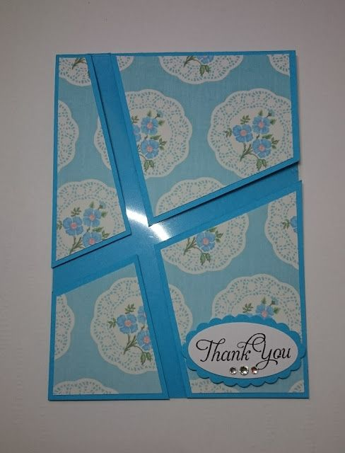 ..MerryMade Cards & Crafts…Craftmad April Card Swap - Wendy to Tracey - Acetate - I have the same patterned paper on the inside to cover up the tape which is holding the card stock in place on the acetate.  Actually, I used overhead projector sheets, Blue, Thank You