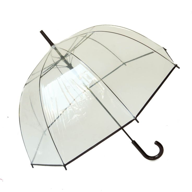 Parapluie transparent cloche à bord noir