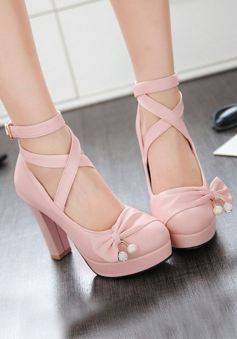 bc020f554b4 Pink Round Toe Chunky Bow Buckle Sweet High-Heeled Shoes | aprons in ...
