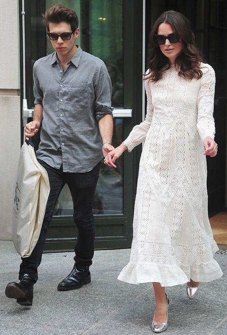 Keira Knightley wears white Valentino dress in New York, with husband James Righton. www.handbag.com