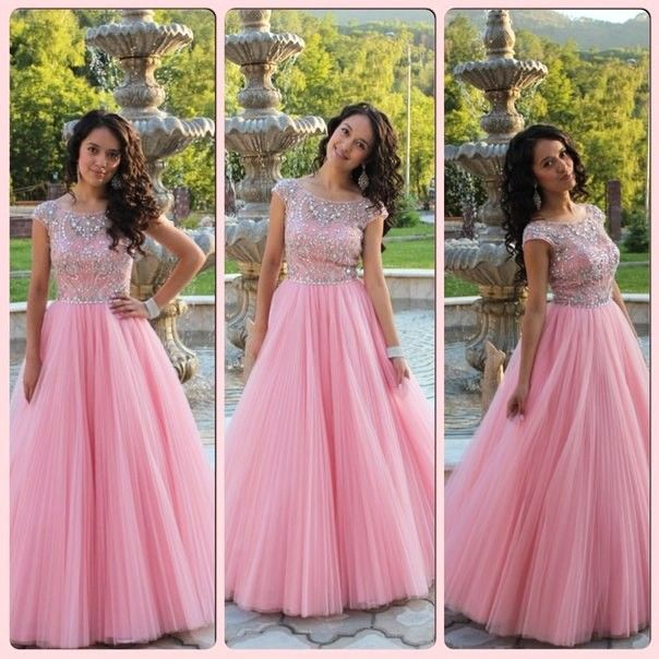Cap Sleeves Prom Dress, Princess Style Pink Prom Dress , Shiny Beading Top Prom Dress , A-Line Floor Length Long Prom Dress