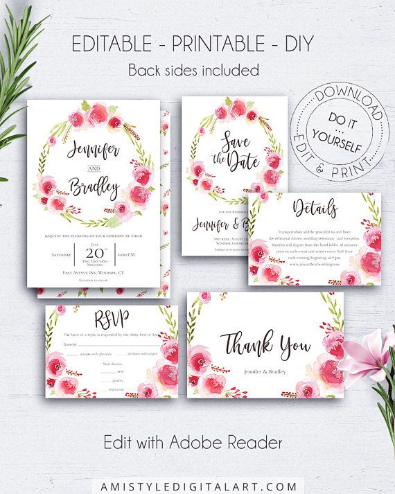 Wedding invitation set with unique and romantic watercolor rose wreath design This floral wedding set is for an instant download EDITABLE PDF pack so you can download it right away, DIY edit and print it at home or at your local copy shop by Amistyle Digital Art on Etsy