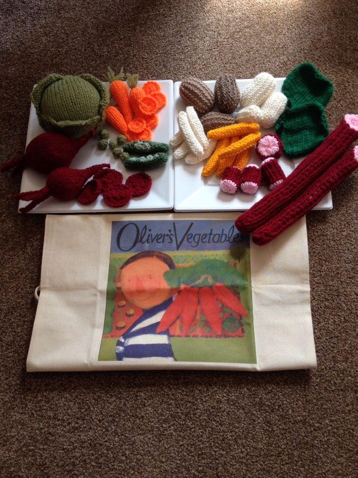 My resource/story sack for OLIVERS VEGETABLES PLUS all the hand knitted vegetables  Available to purchase from barginspls on eBay