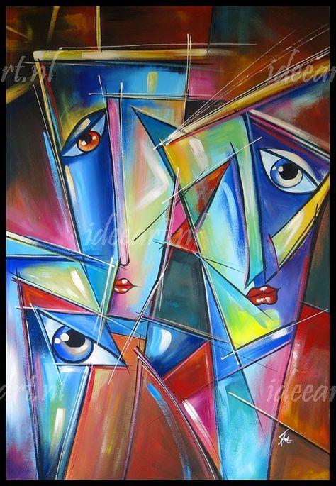 Acryl schilderij drie gezichten