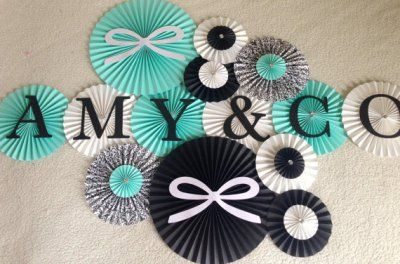 Tiffany & CO Theme Paper Rosettes- Set of 13, Breakfast at Tiffany's Party, Tiffany's Backdrop, Tiffany's Bridal Shower