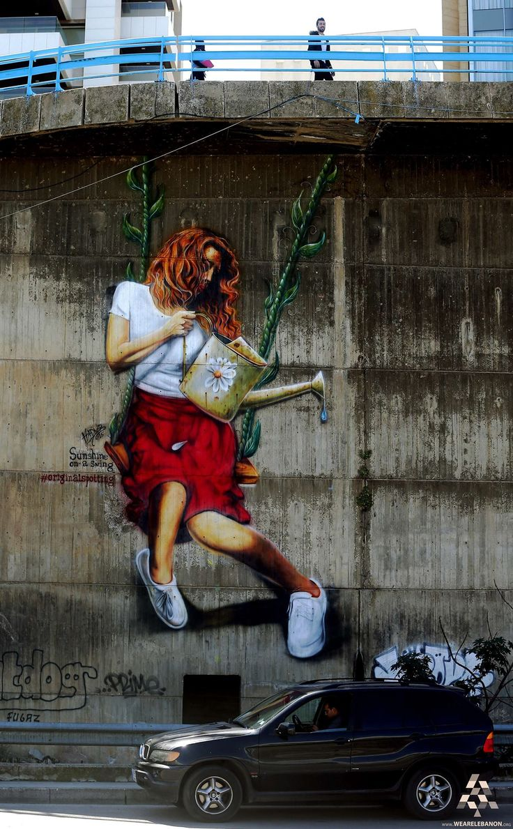 Graffiti wall rubric - Another Creative Graffiti Entitled Sunshine On A Swing By Artist Hady Beydoun Is Seen